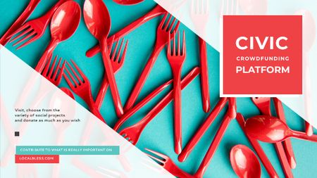 Template di design Crowdfunding Platform Red Plastic Tableware Title