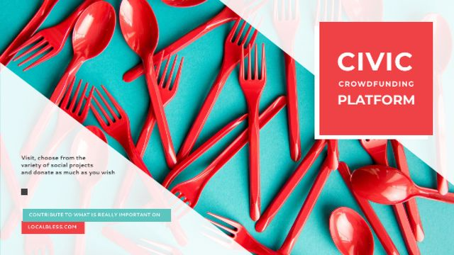 Crowdfunding Platform Red Plastic Tableware Title – шаблон для дизайна