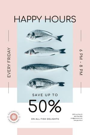 Designvorlage Happy Hours Offer on Fresh Fish für Pinterest