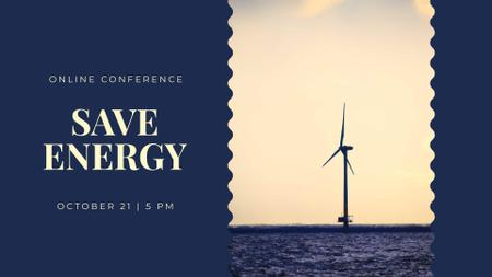 Plantilla de diseño de Ecology Online Conference with Wind Turbine FB event cover