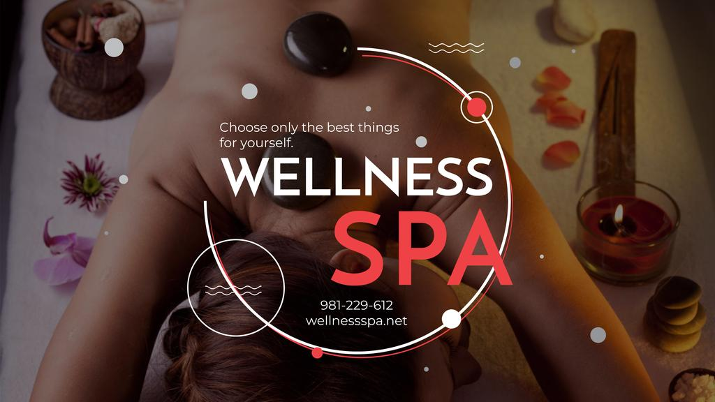 Wellness Spa Ad with Woman Relaxing at Stones Massage — Crear un diseño