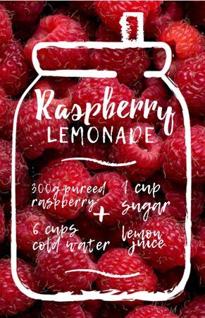 Ontwerpsjabloon van Recipe Card van Raspberry Lemonade Cooking Steps