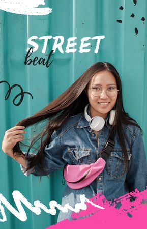 Plantilla de diseño de Stylish Girl in Headphones on street IGTV Cover