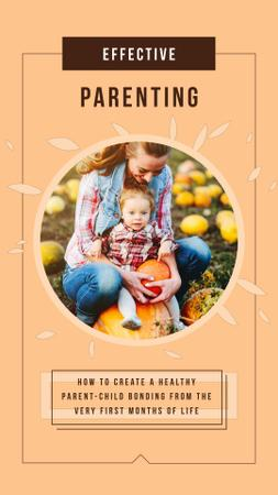 Mother with Her Daughter with Pumpkins in Autumn Instagram Video Story – шаблон для дизайну