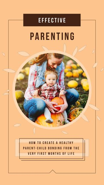 Template di design Mother with Her Daughter with Pumpkins in Autumn Instagram Video Story