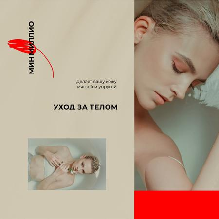 Young Woman relaxing in the bath Animated Post Tasarım Şablonu