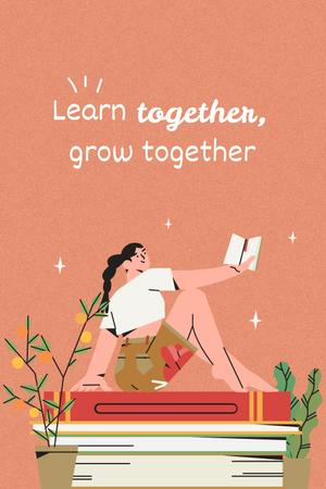 Girl Power Inspiration with Cute Girl in Bed Pinterest Design Template