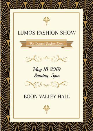 Fashion Show invitation Golden Art Deco pattern Invitation Design Template