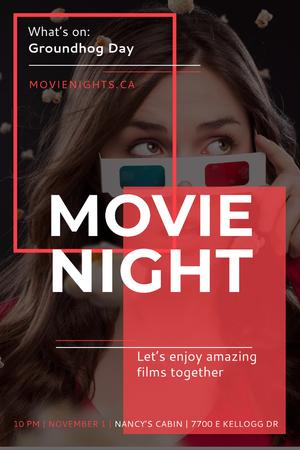 Ontwerpsjabloon van Pinterest van Movie Night Event with Woman in Glasses