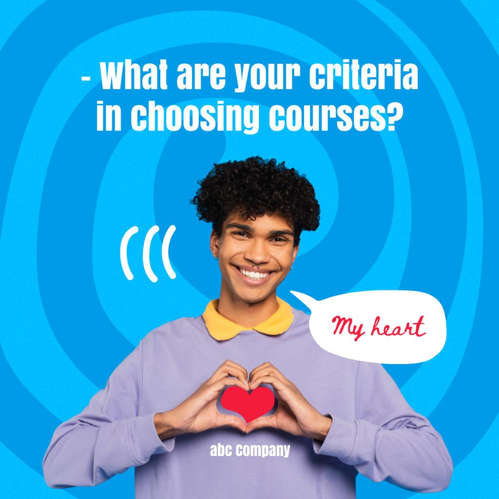 Designvorlage Courses Ad with Smiling Guy holding Heart für Instagram