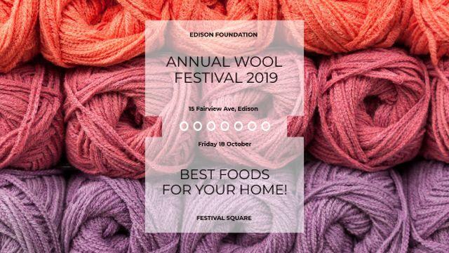 Ontwerpsjabloon van Title van Knitting Festival Wool Yarn Skeins