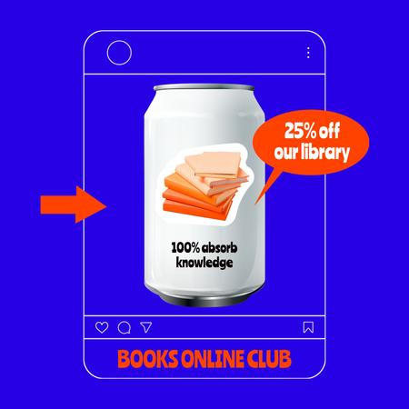 Funny Promotion of Books Online Club Instagram Design Template