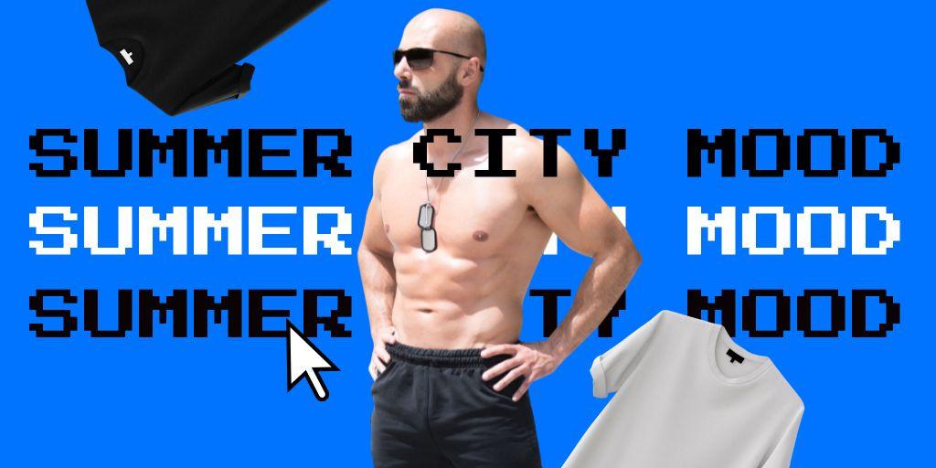 Summer City Mood with Funny Brutal Man in Sunglasses Twitter – шаблон для дизайну