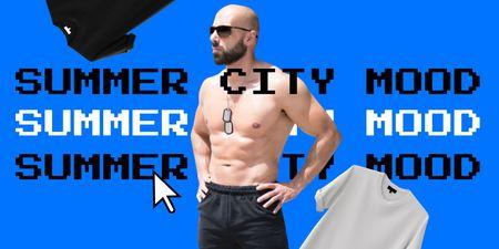 Summer City Mood with Funny Brutal Man in Sunglasses Twitter tervezősablon