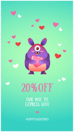 Valentine's Day Offer with Cute Monster Instagram Story Modelo de Design