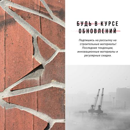 Industry News with Crane at construction site Instagram AD – шаблон для дизайна