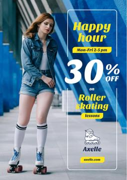 Happy Hour Offer with Girl Rollerskating