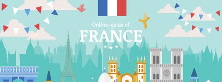 France famous travelling spots Facebook cover Modelo de Design