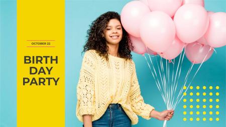 Plantilla de diseño de Birthday Party Announcement with Girl holding Balloons FB event cover