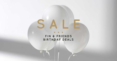 Birthday Deals Offer with White Balloons Facebook AD Tasarım Şablonu