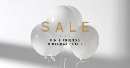 Plantilla de diseño de Birthday Deals Offer with White Balloons Facebook AD