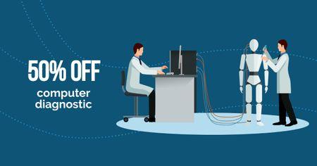Modèle de visuel Computer Diagnostic Discount Offer - Facebook AD