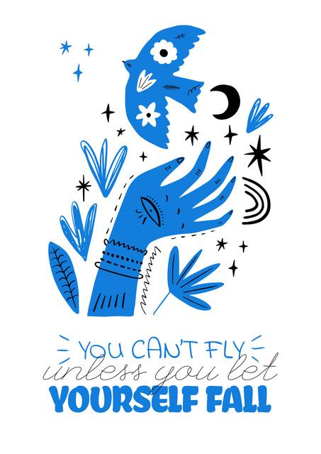 Plantilla de diseño de Mental Health Inspiration with abstract illustration Poster