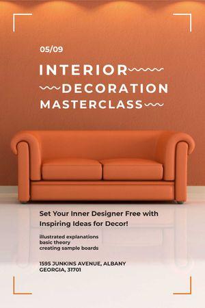 Interior Decoration Event Announcement Sofa in Red Tumblr – шаблон для дизайна