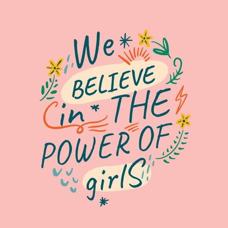 Girl Power Inspiration on pink Instagram Design Template