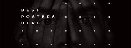 Creative Portrait of Young Man Facebook cover – шаблон для дизайна