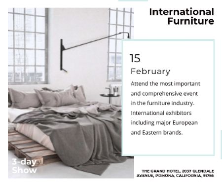 Template di design Furniture Store Ad Bedroom in Grey Color Large Rectangle