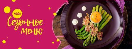Seasonal Menu offer with green asparagus Facebook cover – шаблон для дизайна