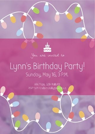 Plantilla de diseño de Birthday Party Garland Frame in Pink Flayer