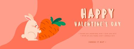 Rabbit with carrot on Valentine's Day Facebook Video cover – шаблон для дизайна