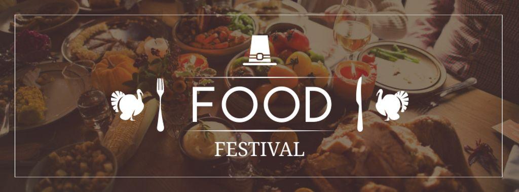 Thanksgiving Food Festival Announcement Facebook cover Design Template