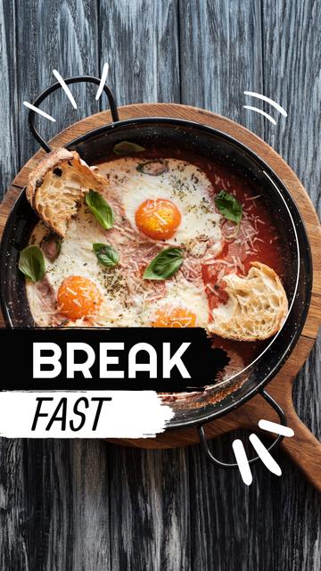 Breakfast with Omelette on Skillet Instagram Story Design Template