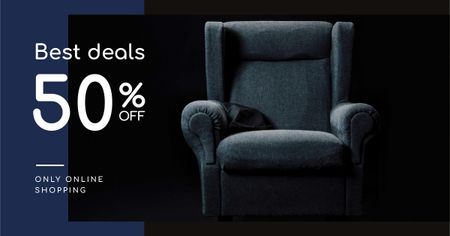 Plantilla de diseño de Furniture Store Sale Armchair in Blue Facebook AD