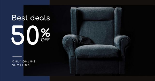 Furniture Store Sale Armchair in Blue Facebook AD Tasarım Şablonu