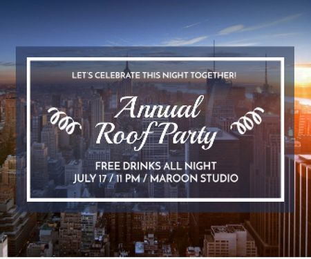 Ontwerpsjabloon van Large Rectangle van Roof party invitation