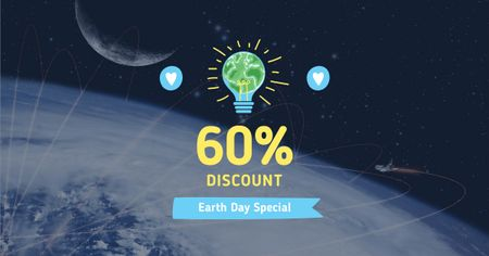 Earth Day Discount with Planet View Facebook AD Modelo de Design