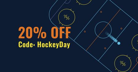 Hockey Day with Ice Field illustration Facebook AD Modelo de Design