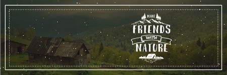 Eco Concept with mountain village Email header Design Template