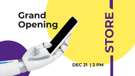 Gadgets Store Opening with Robot holding Phone FB event cover Modelo de Design