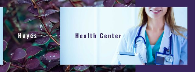 Plantilla de diseño de Confident doctor with stethoscope Facebook cover