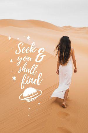 Inspirational Phrase with Woman in Desert Tumblr tervezősablon