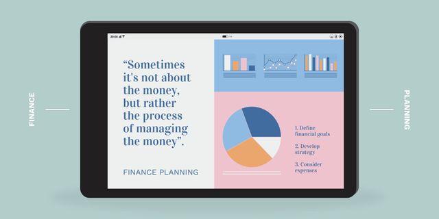 Finance Planning chart on Tablet screen Twitter Design Template