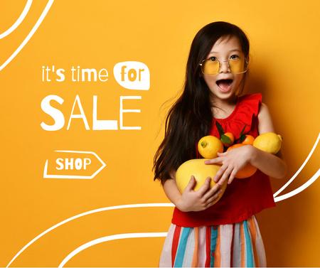 Plantilla de diseño de Cute little Girl holding Fresh Fruits Facebook