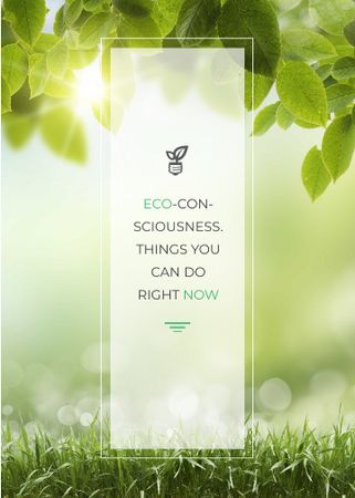 Ontwerpsjabloon van Invitation van Eco Quote Light Bulb with Leaves