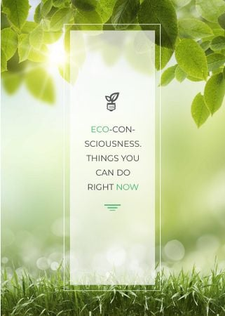 Eco Quote Light Bulb with Leaves Invitationデザインテンプレート