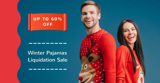 Winter Pajamas Sale with Happy Couple Facebook AD Design Template